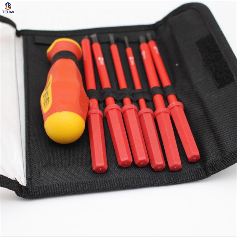 Insulated Screwdriver Set Electrician Dedicated CR-V Slotted Phillips 1000V High Voltage Resistant Hand Tool 7Pcs