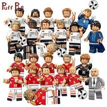 Do Mundo de 2018 Alemanha Rússia Time de Futebol Jogador De Futebol Figuras Blocos de Construção Compatível Legoed Cidade Soldados Brinquedos Para As Crianças
