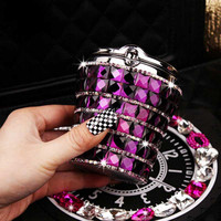 Selling Fashion Exquisite Crystal Diamond Coche Cinzeiro Stainless steel With LED Light Car Cup Holder Ashtray