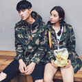 2017 Korean Men Fashion Jackets & Overcoats Autumn Long Hi-street Camouflage Jacket For Man Women Loose Retro Patch Couple Lover