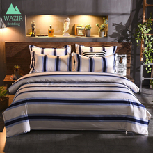 WAZIR European Style Pure Color Blue and White Stripe Bedding Set 3/4pcs Bedroom Decoration Duvet Cover Pillowcase bed sheet