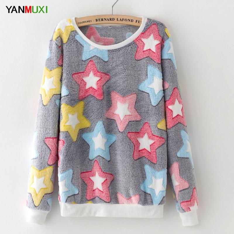 YANMUXI Women Christmas Sweaters Casual O-Neck Long Sleeve Stars Printed Warm Christmas dotted Sweater 2017 Fashion Slim Tops ...
