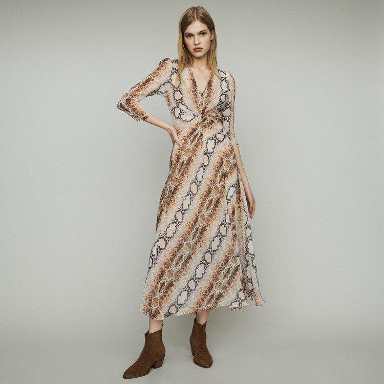 Women s Dress 2019 Spring and Summer New V neck Leopard Print Dress