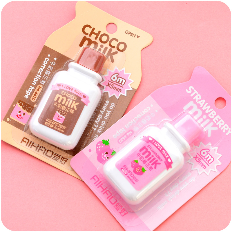 Cute Cartoon Kawaii Milk Style Correction Tape For Kids Gift School Supplies Materials Korean Stationery Novelty Wholesale Item