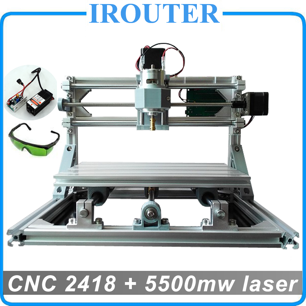 CNC 2418 + 5500mw laser,diy mini cnc engraving machine,Pcb Milling Machine,Wood Carving...