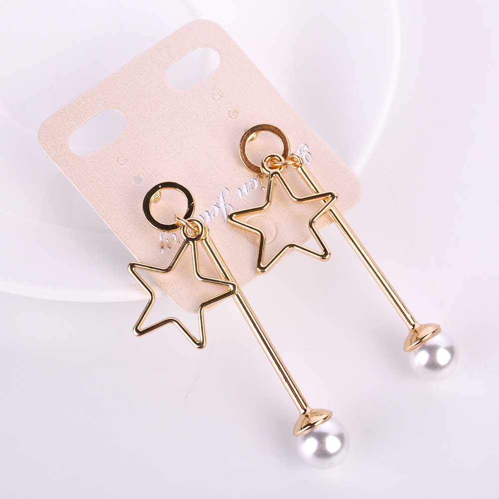 2017 New Style Fashion Hollow out Star Pearl Long stick Drop Earring Dangle Earrings for Women Statement Jewelry Beauty deco