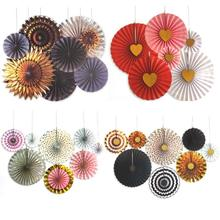 8pcs/lot Grey Gold Black Wheel Tissue Paper Fans Flowers Balls Lanterns Party Decor Craft For Birthday Party Wedding Decoration