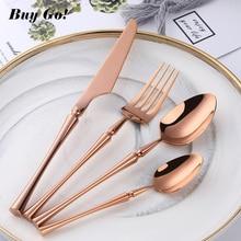 Mirror Gold Black Cutlery Set for Stainless Steel Dinnerware Fork Knife Scoops Silverware Home Rainbow Tableware