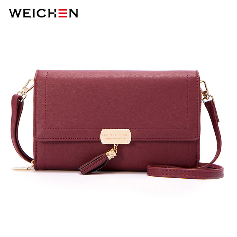 WEICHEN Brand 2018 Tassel Element Messenger Bag Women High Quality Leather Shoulder Crossbody Bag Female Purse Ladies Small Bag new brand genuine leather women bag fashion retro stitching serpentine quality women shoulder messenger cowhide tassel small bag