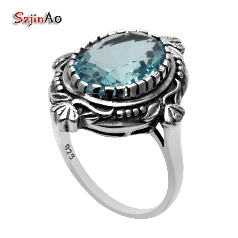 Szjinao Sky Blue Aquamarine 925 Sterling Silver Ring For Women Wedding Party Wholesale