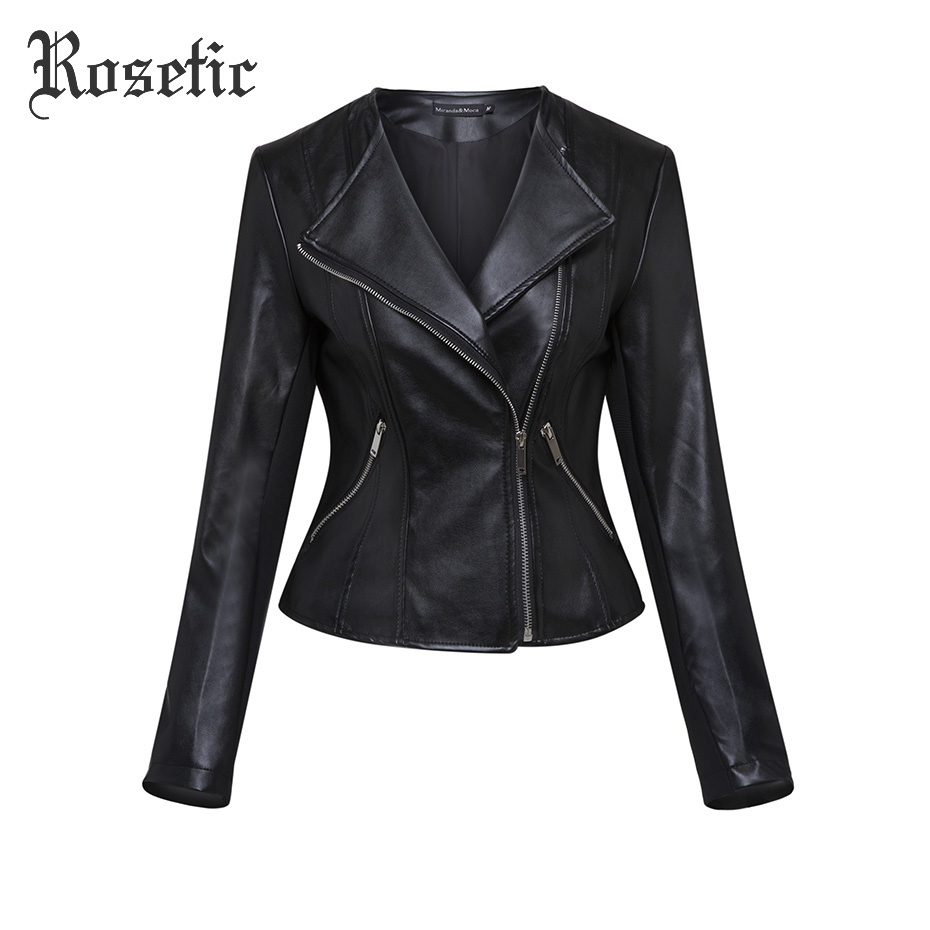 Rosetic Jackets Black Women Autumn PU Leather Coat Fashion High Street Moto Tops Sweetwear Cool Preppy Outerwear Casual Jackets