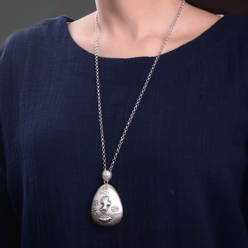Mots bouddha lotus pieds dos gravé coeur sutra pendentif collier chandail chaîne prix vente directe hommes et femmes - 5
