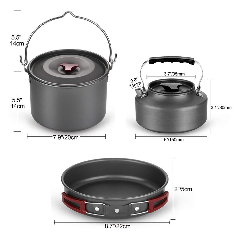 Image 2 - VILEAD 19pcs 4 Persons Camping Cookware Set Hanging pot Pan Cup Teaport Outdoor Cooking Portable Folding Tableware Picnic Set-in Camping Cookware from Sports & Entertainment