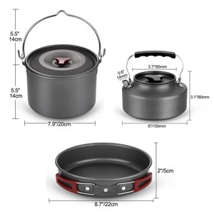 Image 2 - VILEAD 19pcs 4 Persons Camping Cookware Set Hanging pot Pan Cup Teaport Outdoor Cooking Portable Folding Tableware Picnic Set