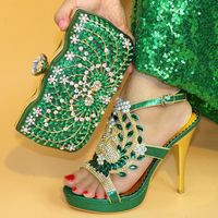 Green Color Italian sandal with Matching Bags Nigerian Shoes and Matching Bags Set Decorated with Rhinestone Party Shoes and Bag