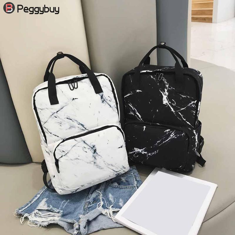 Women Nylon Backpack for Teenagers Bags Marbling Backpack Female Computer Rucksack Schoolbag Casual Female Shoulder Travel Bookb