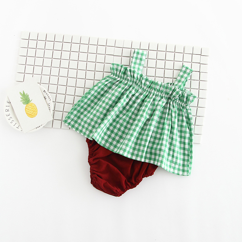 Baby Girls Coat + Shorts Suit Plaid Sling Sleeveless Blouse Pants Set Summer Clothes For Baby Girls Kids Fashion Set Thin Cloth
