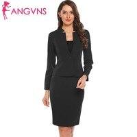 ANGVNS Women Blazer Pencil Dress Suit Office Lady Long Sleeve Slim High Waist One Button Blazer