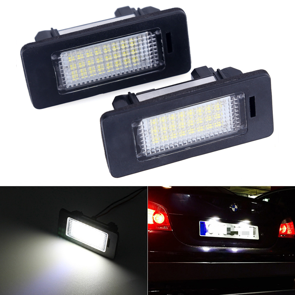 Error Free Car Led License Plate Led Light Lamp 12v White 6000K For BMW E39 E60 E82 E90 E92 E93 M3 E39 E60 E70 X5 E60 E61 M5 E88 2 x led number license plate lamps obc error free 24 led for bmw e39 e80 e82 e90 e91 e92 e60 e61 e70 e71