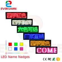 led name badge,led tag programmable moving message display,led Business card Luminous badges Red/Yellow/Blue/White