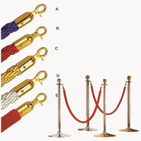 2016 Rushed 2 Pcs Velvet Rope Stanchion Gold Post Crowd Control Queue Line Barrier New