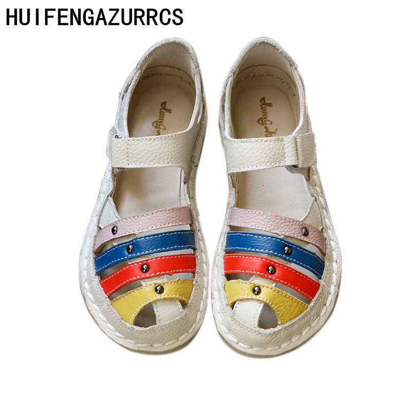 HUIFENGAZURRS New Hot Head layer cowhide pure handmade Candy colors shoes lady the retro art mori