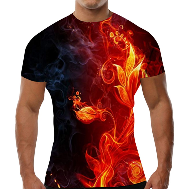 New Red Flaming Tshirt Men T Shirt 3d T-shirt Black Tee Casual Top Anime  Streatwear Short Sleeve Cloth Drop Shipping