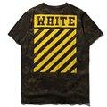 OFF WHITE T Shirt Hombres Kanye West YEEZY Blanco Roto camuflaje Rayas Hip Hop Camiseta de Algodón OFF WHITE T camisa