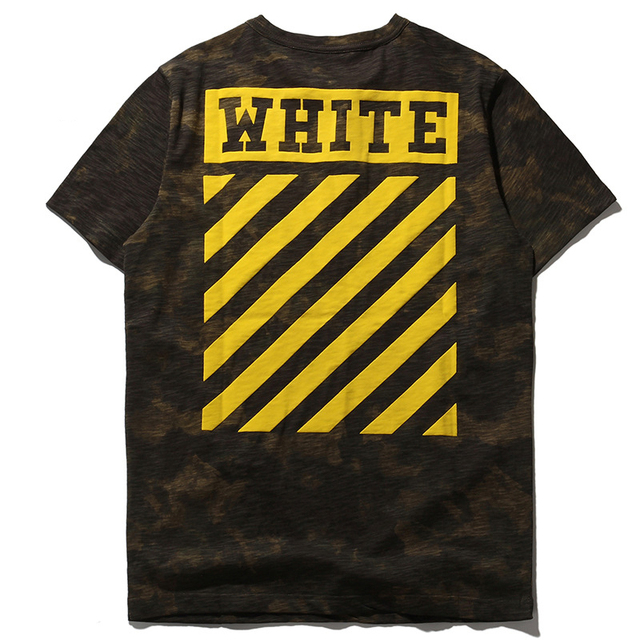 OFF WHITE T Shirt Men YEEZY Off White Kanye West Camouflage Striped Hip Hop Cotton T Shirt OFF WHITE T Shirt