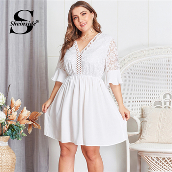 Sheinside Plus Size Contrast Lace Hollowed Out V Neck Dress Women 2019 Summer Flounce Sleeve Dresses Ladies A Line Dress