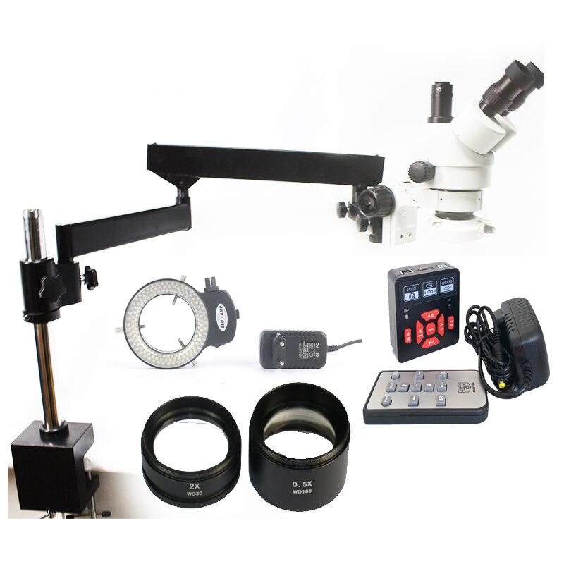 Simul Focal 3 5X 90X Articulating Arm Clamp Trinocular Stereo Microscope 21MP HDMI USB Digital Camera