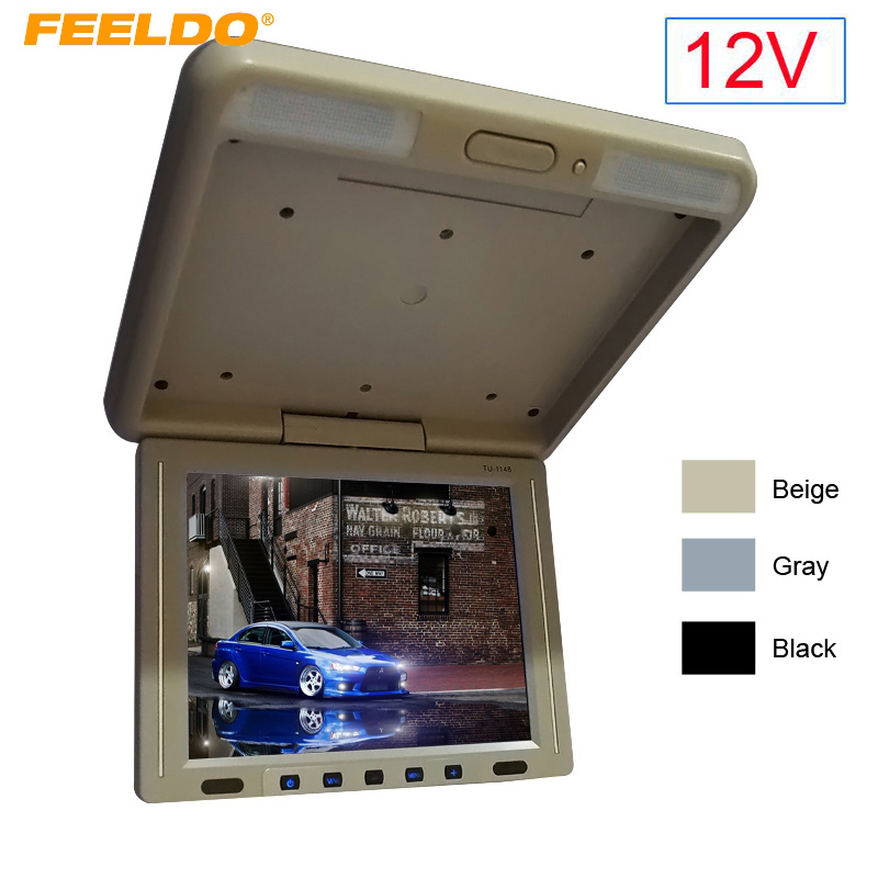 FEELDO DC12V 11.3 Roof Mounted TFT LCD Monitor 2-Way Video Input 11.3 Inches Flip Down Car Bus Truck Monitor 3-Color #1285