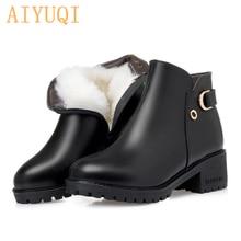 AIYUQI 2019 New fashion real cowhide leather ankle boots women warm wool shoes women boots snow boots winter big size 41 42 43 цена в Москве и Питере
