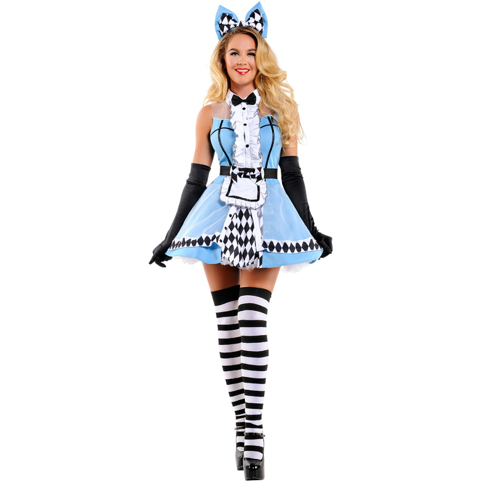 UTMEON Hot Sale Alice In Wonderland <font><b>Costume</b></font> Cosplay Alice Fantasia Carnival <font><b>Halloween</b></font> <font><b>Costumes</b></font> <font><b>For</b></font> <font><b>Women</b></font> <font><b>Sexy</b></font> <font><b>Blue</b></font> Panty Dress image