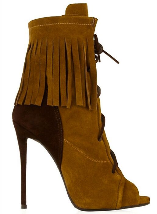 Unique design high quality suede leather women sexy open toe thin heeled ankle boots female sexy lace up tassel sandal boots
