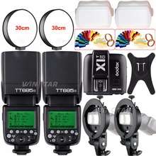 2x Godox TT685O 2.4G HSS TTL 1/8000s Camera Speedlite Flash + X1T-O Trigger for Olympus/Panasonic + Bowens S-Type Bracket +Gift