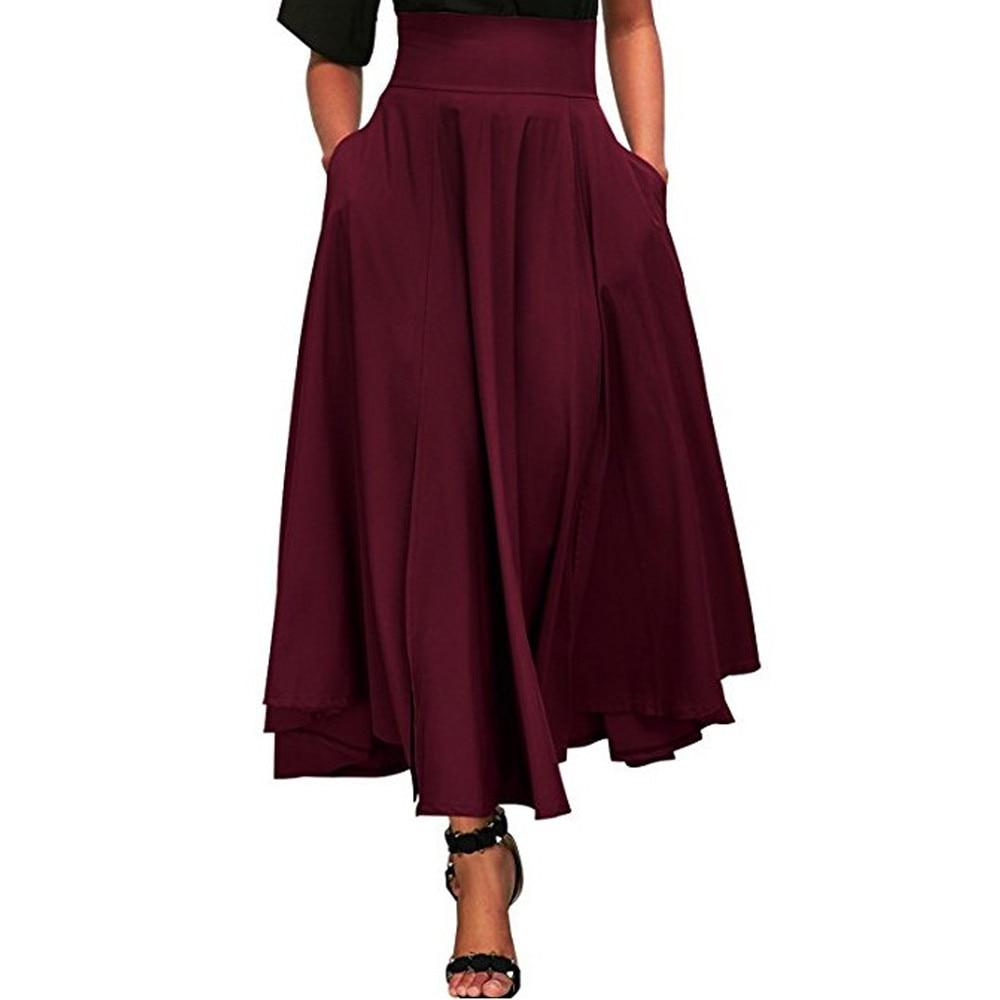 Faldas Skirts Womens Women High Waist Casual Pleated A Line Long Skirt Front Slit Bow Belted Maxi Skirt Faldas Mujer Moda #Z