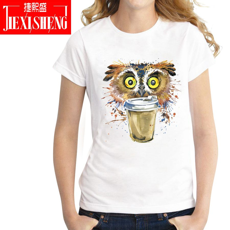 Fashion Women   T     shirt   funny multicolour psychedelic owl Drink coffee Printed   t  -  shirt   cotton o-neck Cool tee brand clothing