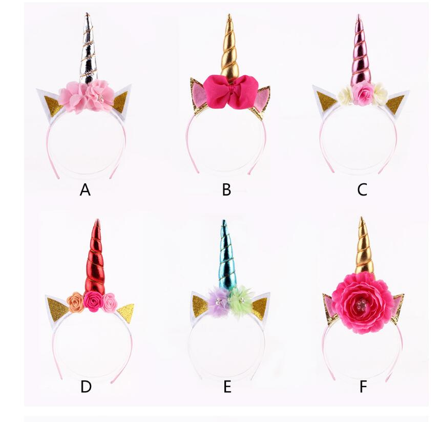 12pcs Rainbow Unicorn Horn Hairband Kids Chiffon Unicorn Headband Glitter Hairband Easter Bonus for Party Gift Hair Accessories