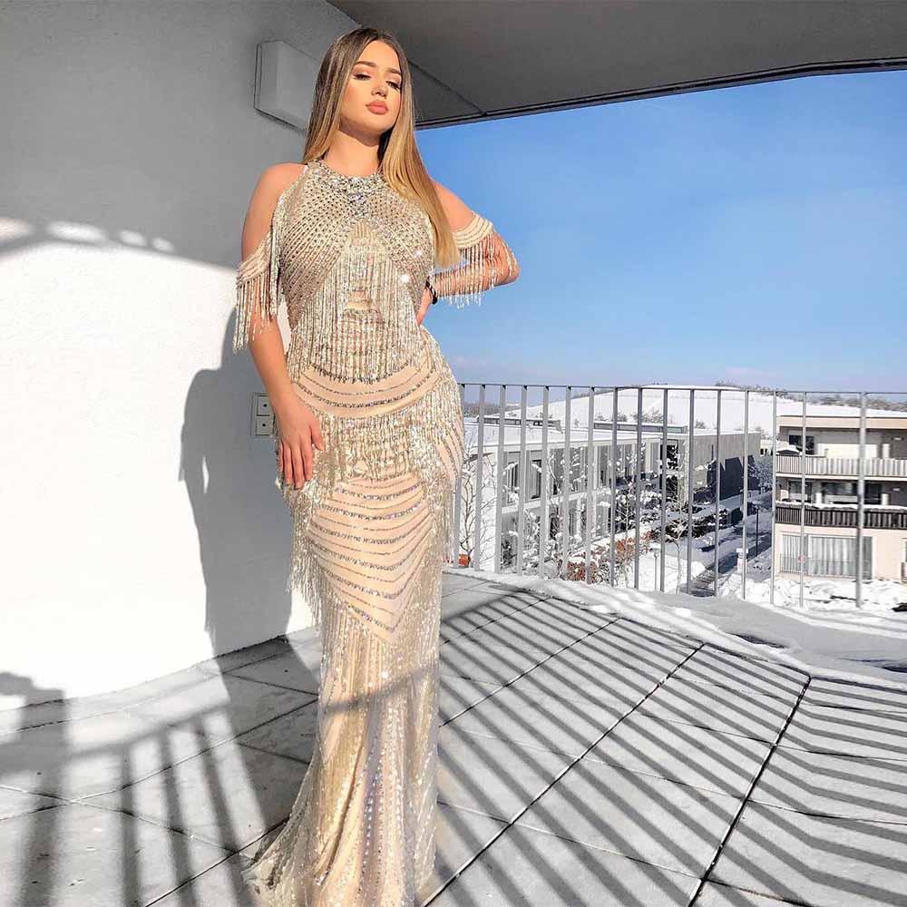 2019 nu cristaux perlé robe de soirée licou pendentif dos Zipper robe de soirée sans manches