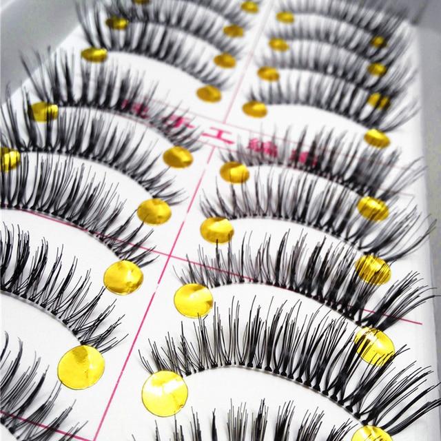 10 par Natural Grossas Pestanas Falsas Eye Lashes Extensions Maquiagem Ferramenta Maquiagem Dos Olhos Cílios Falsos Extensão Cílios Falsos
