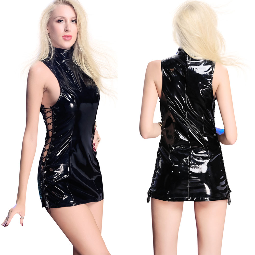 Xxl Plus Size Bandage Shiny Pvc Dress Wetlook Sissy Faux Leather Dress Sexy Clubwear Minifalda Vestidos Sexys Eroticos Babydoll