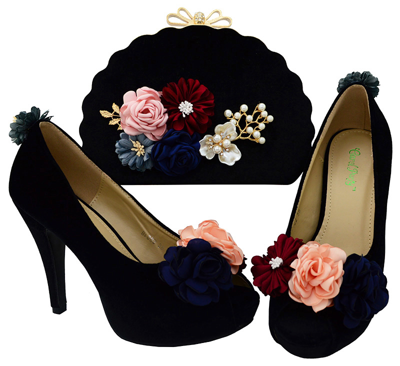 African wedding Decorated with flowers shoes matching bags Sets Nigerian  Shoe and Bag Set for Party 8e974e8d4ef1