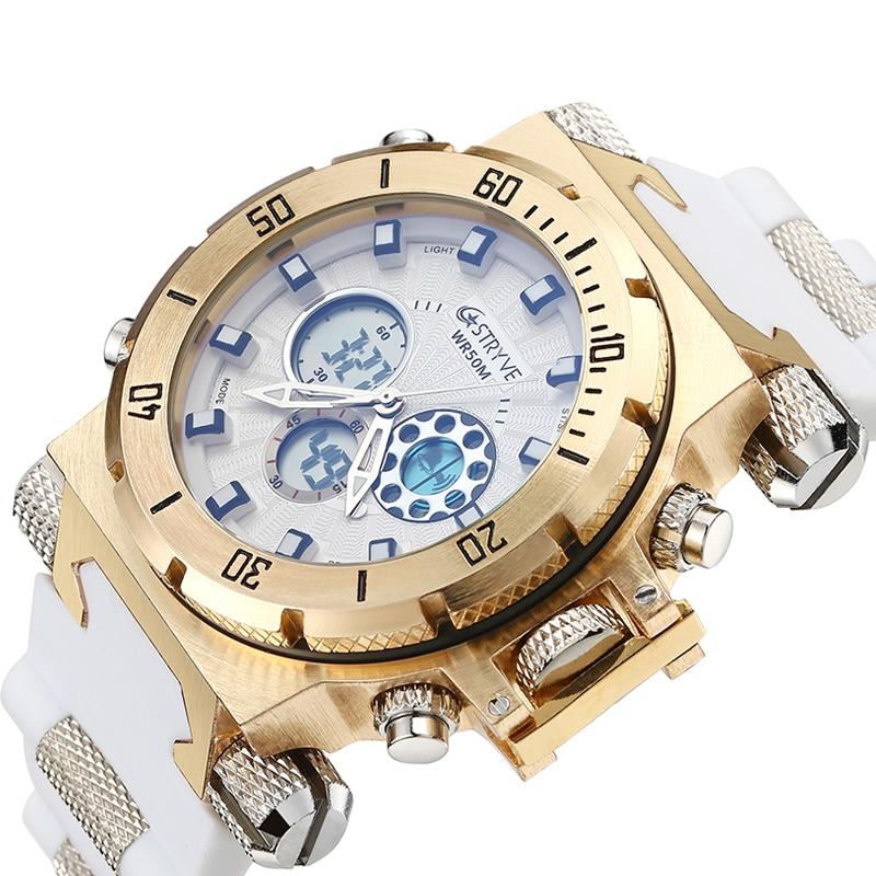 luxury STRYVE brand Men military sports watches Dual Time Quartz Digital analog Watch rubber band wrist watch relogio masculino 1