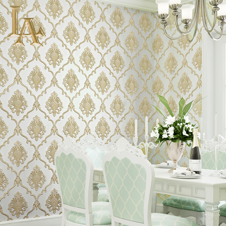 New European Vintage Luxury Texture Damask Wall paper Embossed Textured Wallpaper Rolls Home Decoration