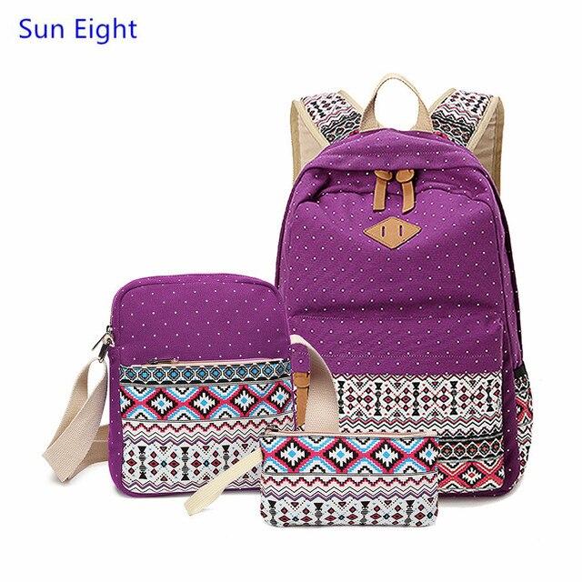 cb5c37173 Sun eight étnico mujeres mochilas mochila para adolescentes escolares niñas  bolsa de tela de lona de