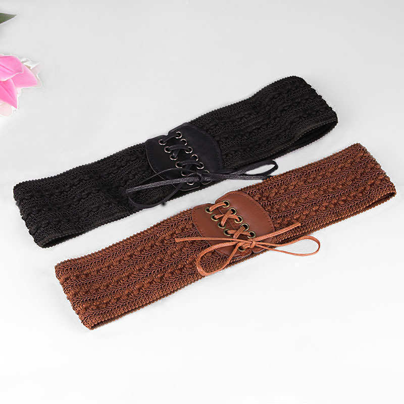 AWAYTR Fashion Belt For Women Girdle Wide Elastic Leather Cummerbunds Women Waistband Belts Wedding Party Gift Accessories