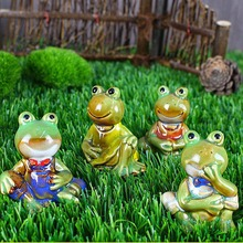 4 pieces / set ceramic ornaments frog creative style home table decoration ornaments model цены