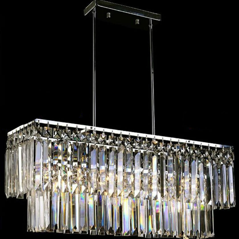 New luxury luster crystal chandelier 20W LED E14 lamp holder kitchen rectangular crystal stainless steel chandelier lamp 85v260v led crystal chandelier lamp can be customized stainless steel restaurant