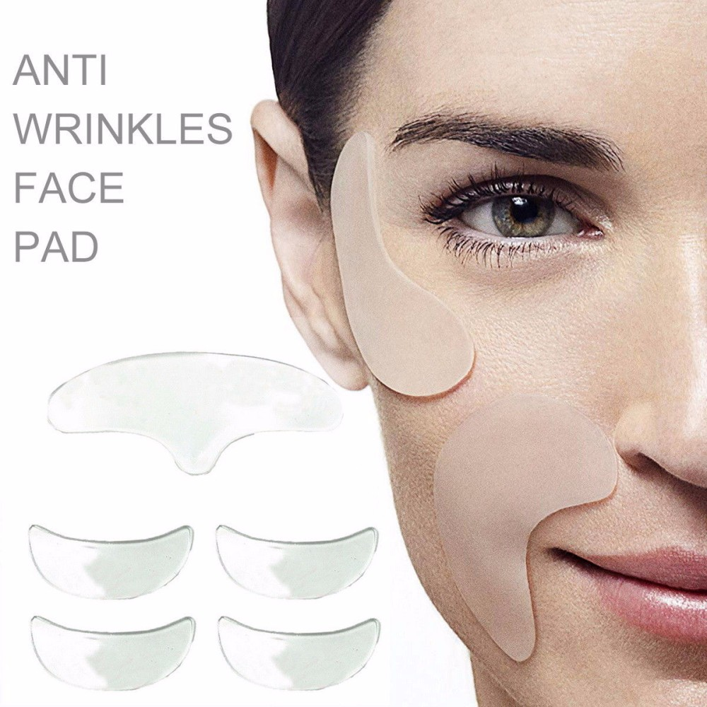5pc Silicone Anti Wrinkle Eye Face Mask Pad Reusable Silicone Invisible Neck Chest Pad Anti-aging Eliminate Prevent Face Wrinkle